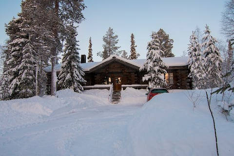 Log cabin in wilderness of Lapland