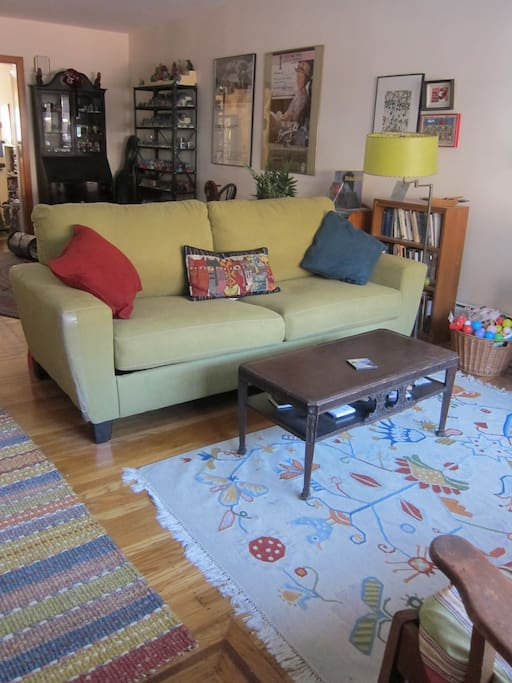 living room with brand-new queen sofa-bed