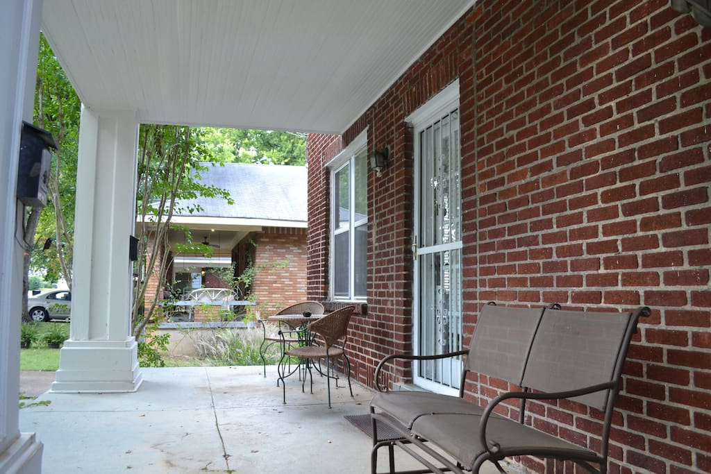 Enjoy coffee on the front porch.