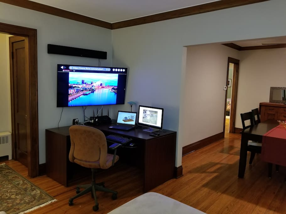 Office Corner & Smart TV in Living Room