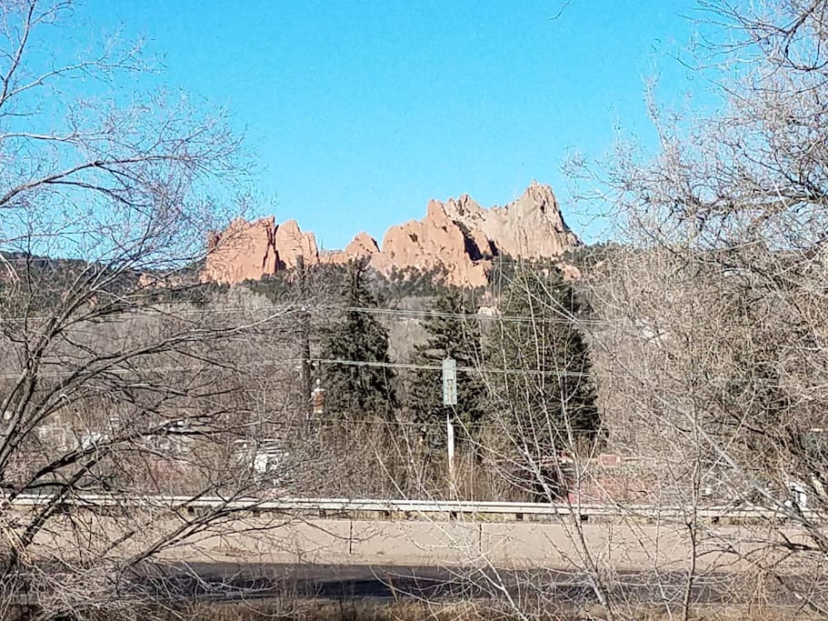 Admire the Garden of the Gods rock formation from the comfort of the studio.