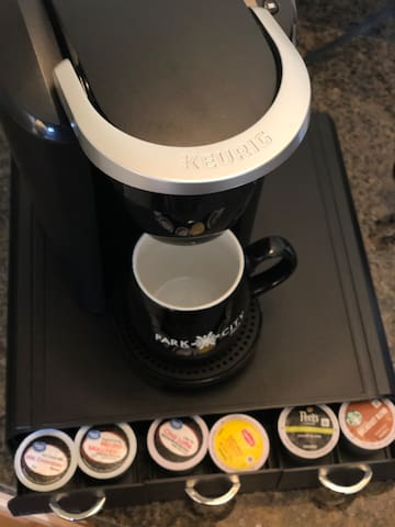 KEURIG for coffee, tea, hot cocoa, and more.  Coffee for 2 in your room at Mtn Penthouse:)