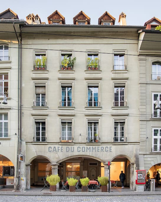 The apartment is 2 floors above the famous Cafe du Commerce restaurant