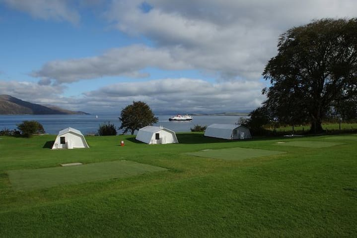 What a view from our self-catering Shieling Tents.