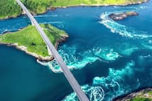 Saltstraumen. Is one of the worlds strongest tidal currents. Located 22 km from the apartment.