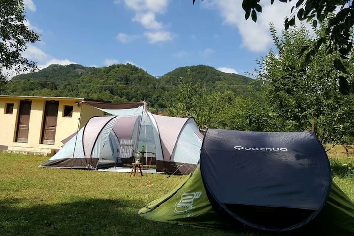 Lovely tents with river and mountain view
