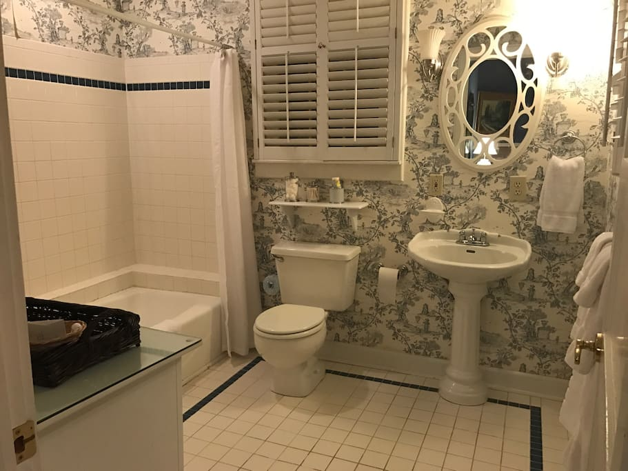 The Weems Room features a large private bath with a shower/ tub combination.