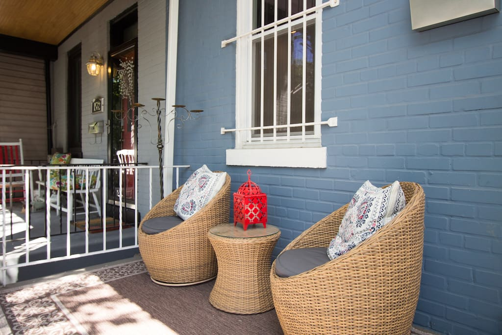Front porch where you can enjoy your coffee or tea