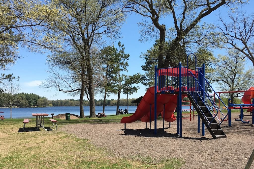 Crooked Lake Park has a great playground (even handicap accessible swings!) and volleyball, horseshoes, disc golf, amphitheater (live music in the park on Thursdays during the summer) and so much more!