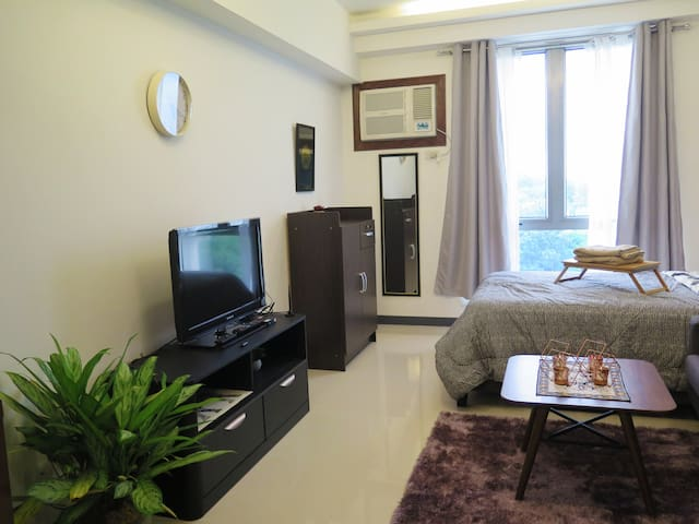 Studio unit with air-conditioning, a flat-screen TV and a mini closet