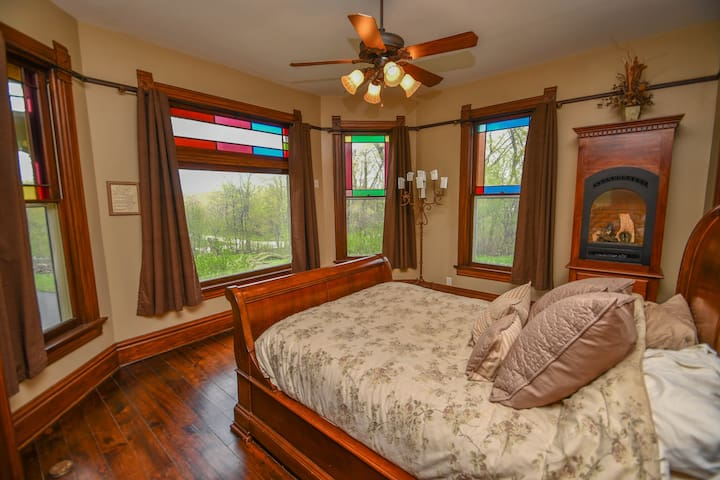 Master bedroom includes gas fireplace.