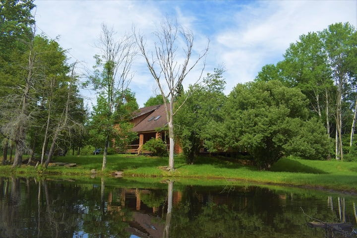 Waterfront secluded log-house w/sauna, games, more