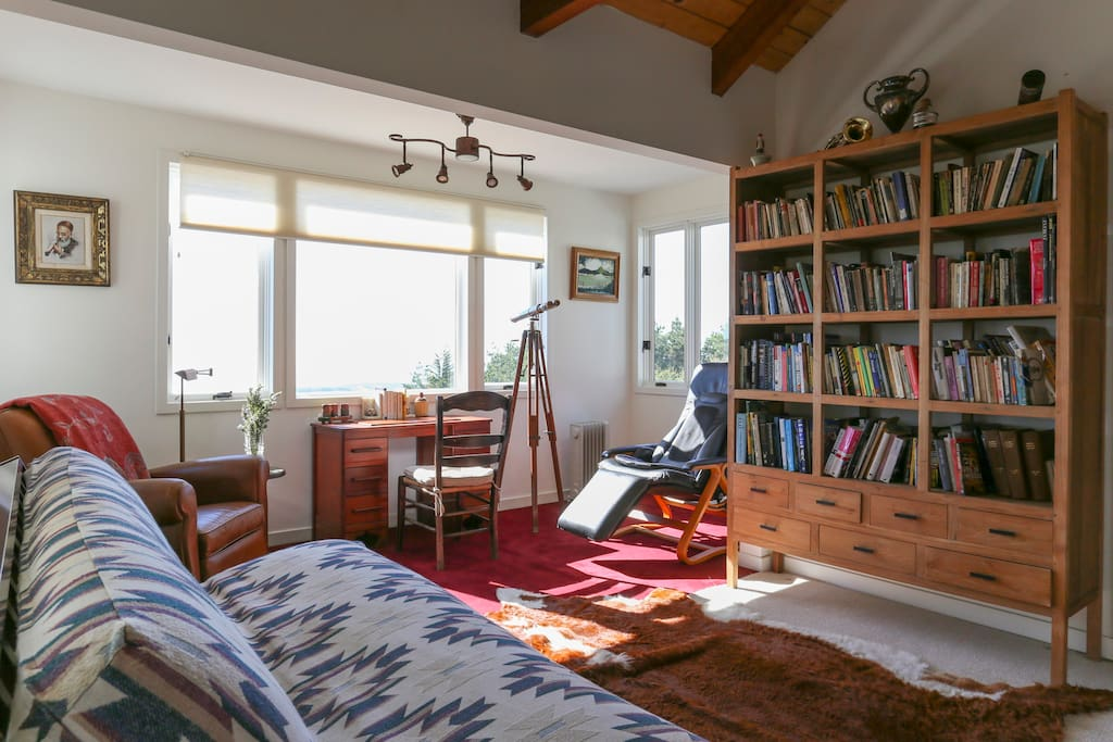 Bedroom with a library of classics with queen bed and futon.