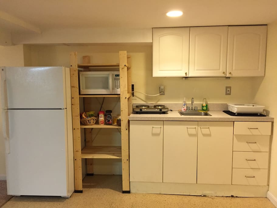 Kitchenette with fridge, microwave, two burners and sink.