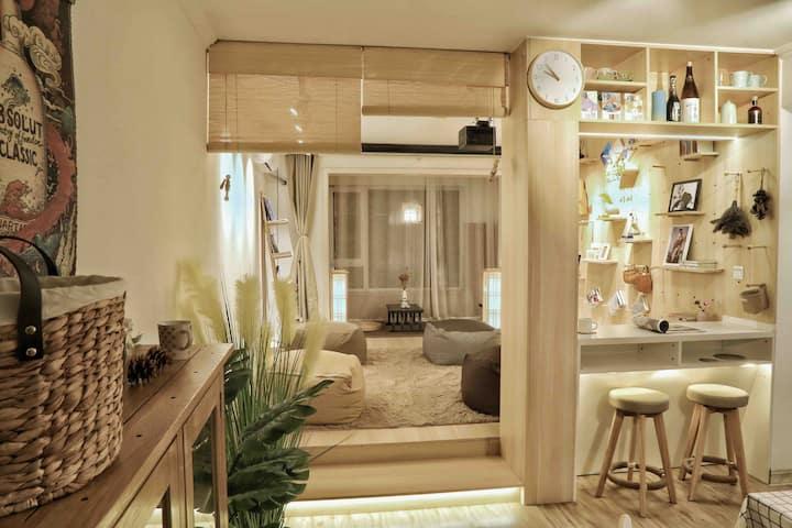 【微暇】万平口、东夷小镇、灯塔、万象汇、温馨日式二居室、120寸家庭影院