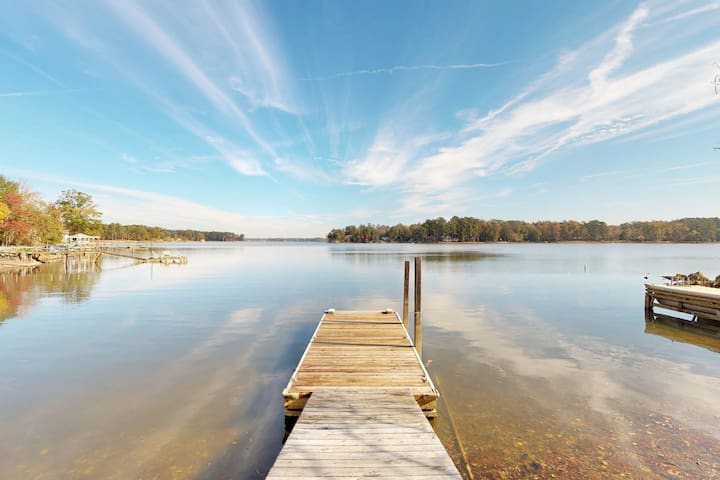 NEW LISTING! Lakefront home with shared dock, gazebo, and patio! Dogs OK!