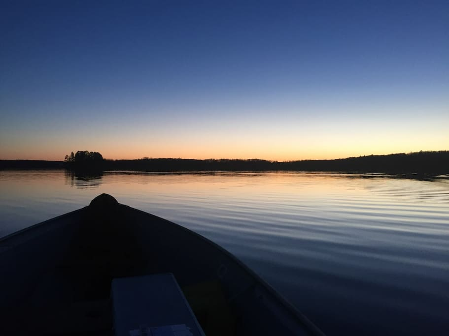 On the lake at sunset