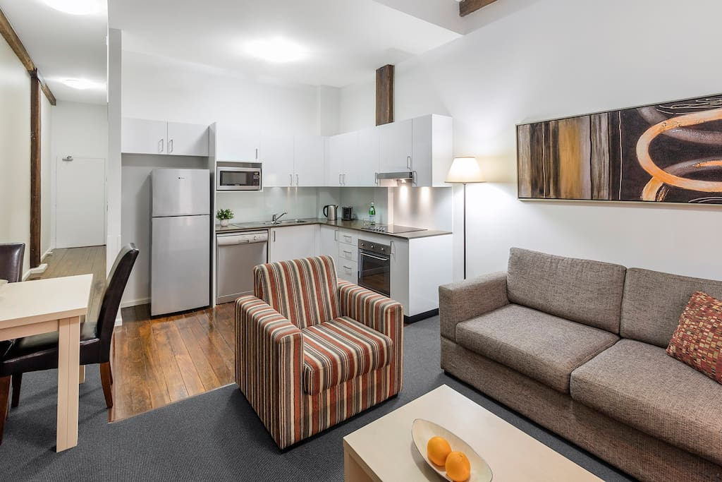 1 Bed Apartment - Kitchen and Living