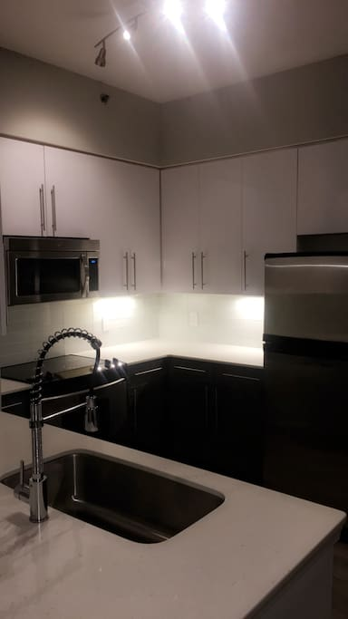Beautiful All White Kitchen Stainless Steele Appliances Large Sink New Design Faucet