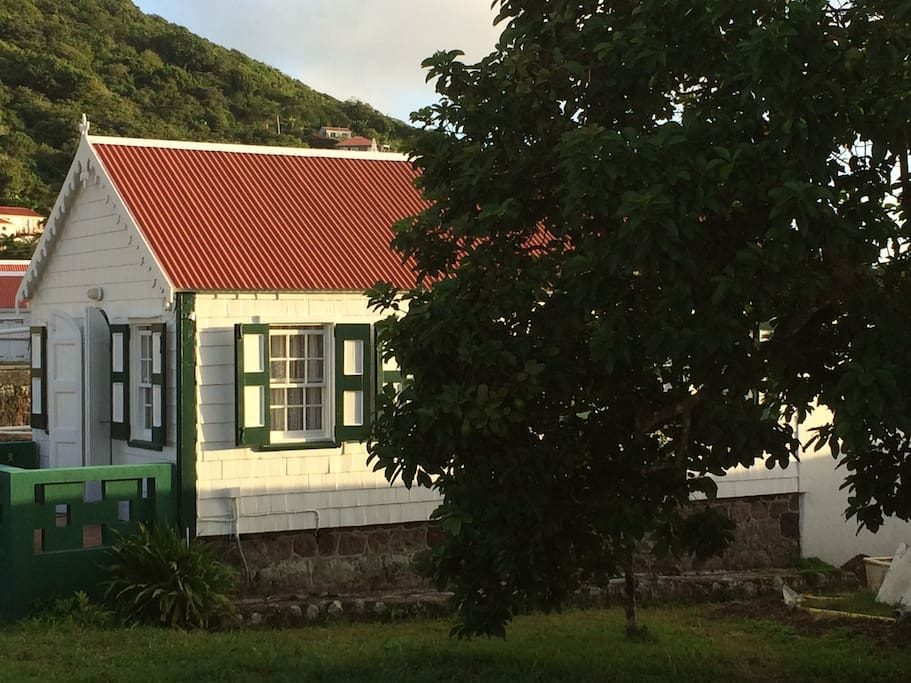 Sunrise on Pete's Cottage -around a 120 year old traditional wooden Saban cottage. The garden with avocado tree in the foreground.