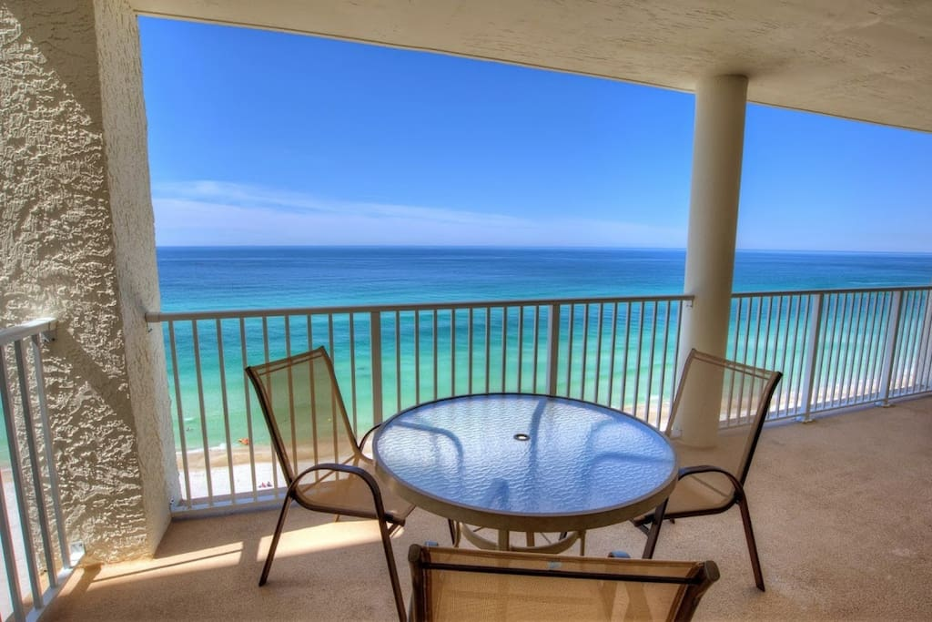 Private balcony with a beautiful view overlooking the Gulf of Mexico