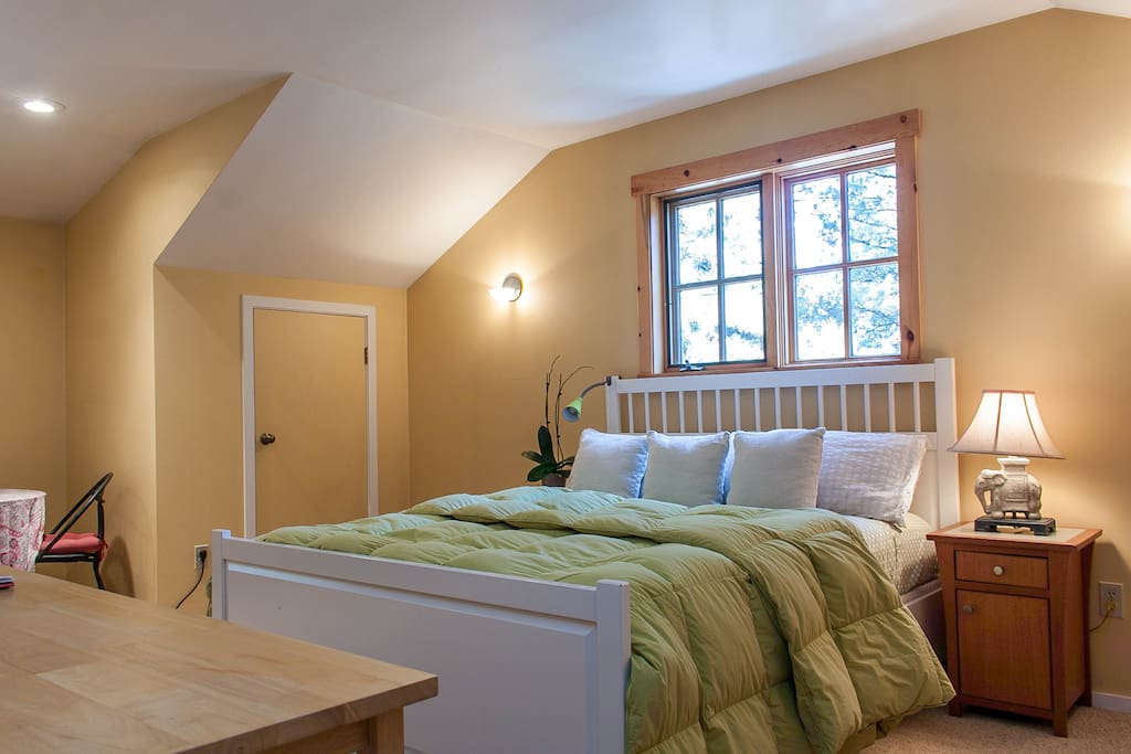 Queen bed in the loft area, we often receive comments on the comfort of this nice bed!