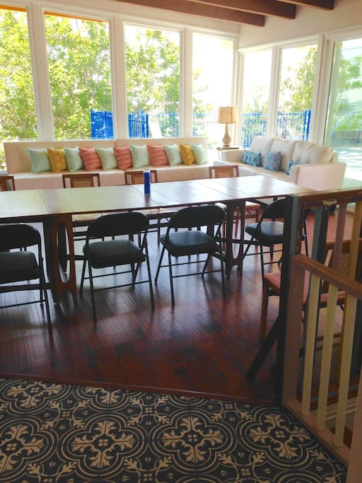 Dining room table accommodates 8 or more