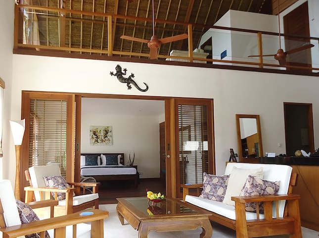 Villa Nusa Kecil showing lounge and mezzanine above