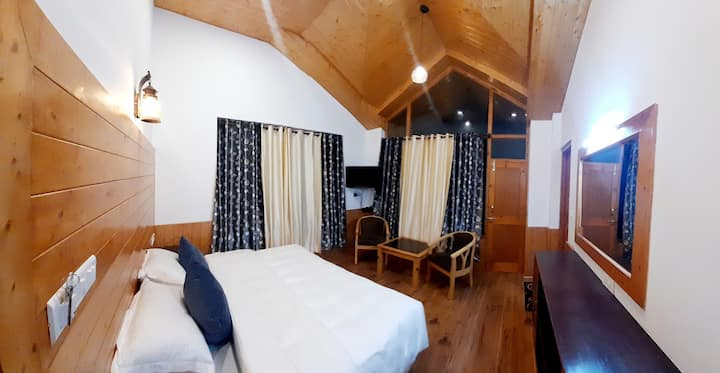 Solang View Room at Clifftop Cottages, Manali.