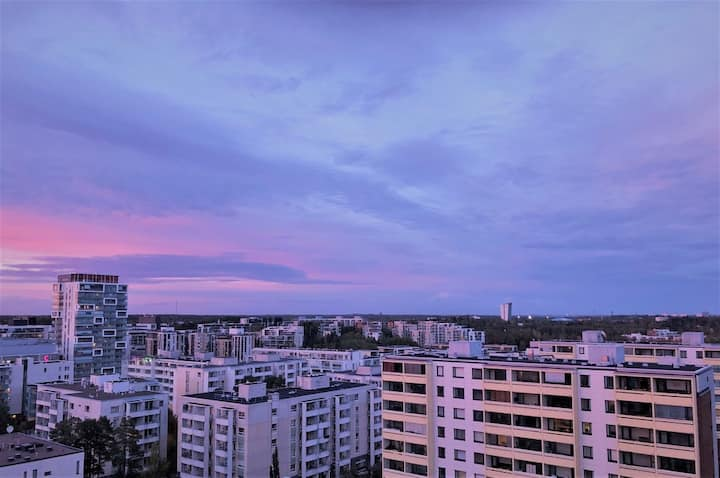 Beautiful studio in Espoo with a great view