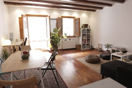 Nice and cozy double bedroom in a spacious and beautiful flat in central Barcelona, with terrace, fully equipped kitchen, and spacious living room. Only 4 min walk from the Ramblas and Boqueria Market, 10 min from the sea.