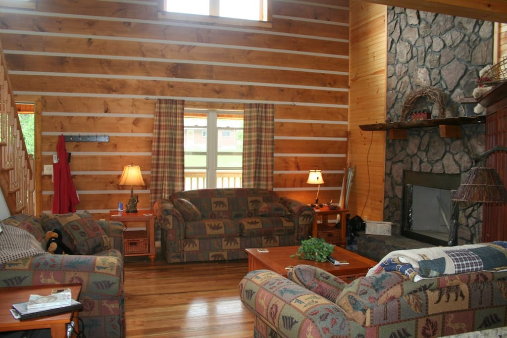 Living room with gas fireplace, lots of wood.