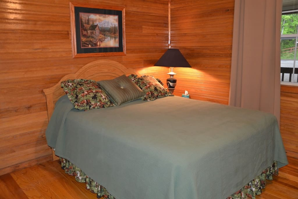 Master bed with attached private bathroom