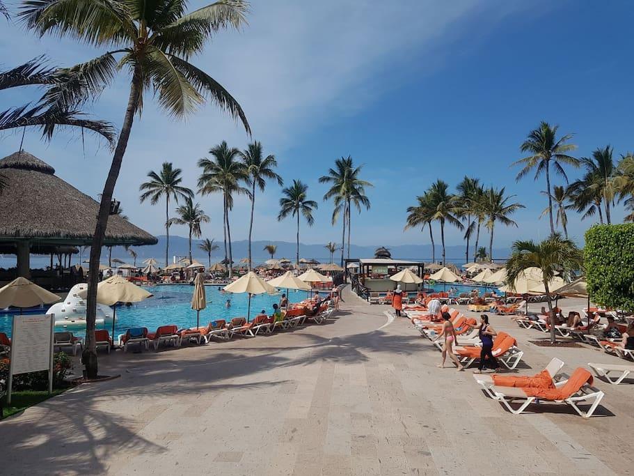 área de alberca, poolbar, acceso a la playa