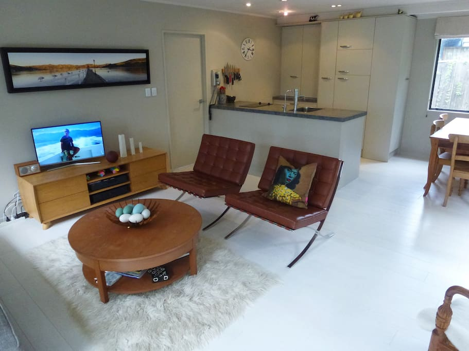 Living room and compact kitchen