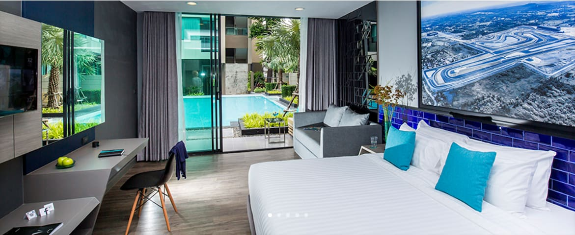 Cool and Modern Twin Deluxe Pool Access Buriram - Buri Ram - Boutique-hotel