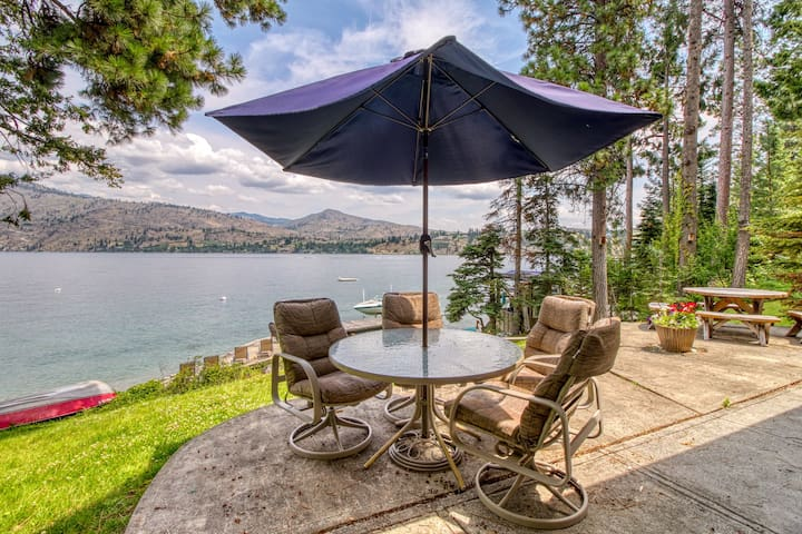 NEW LISTING! Two rustic lakefront cabins w/ a great deck, patio, & dock
