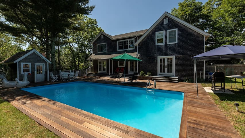 Sun-Filled Estate Just Outside East Hampton Village, Secluded Setting w/ Sprawling Backyard & Pool