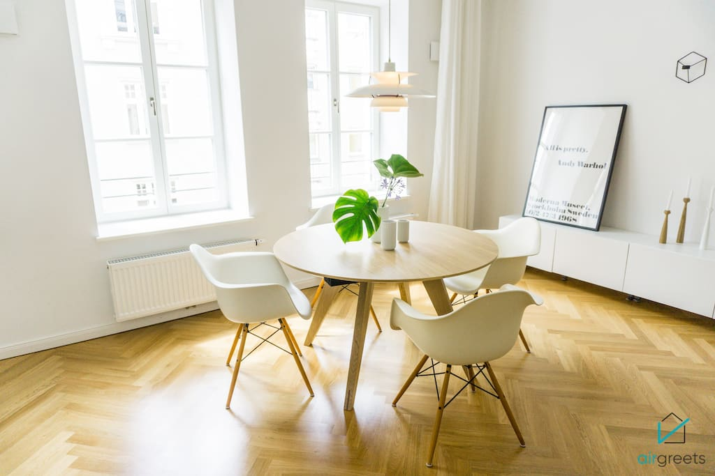 The dining table in the living area offers space up to 4 person.
