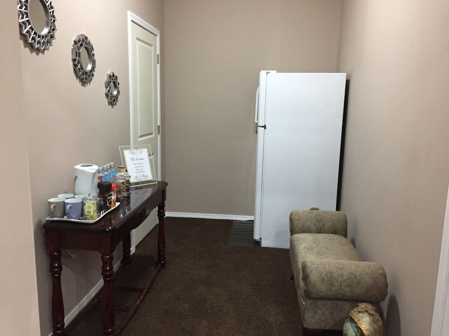 Separate entrance with standard fridge for guest !
