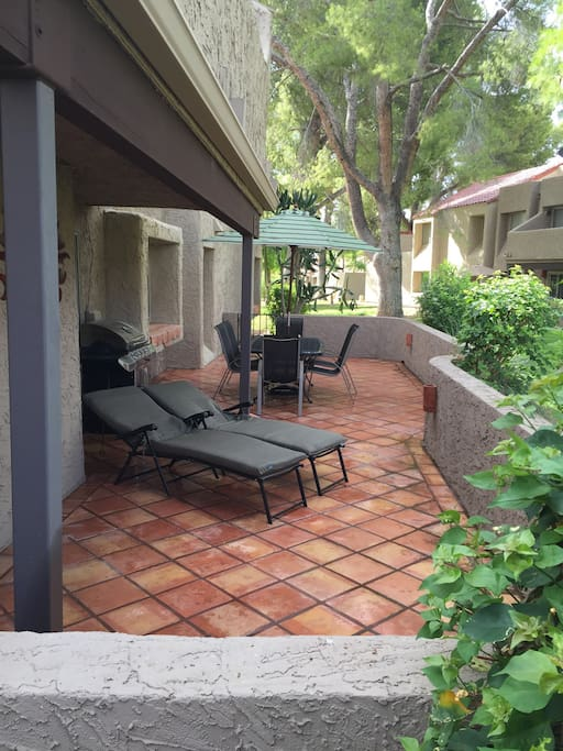 1 of 2 decks...backs onto beautiful green space. Table sits 6, plus 2 loungers and a BBQ.