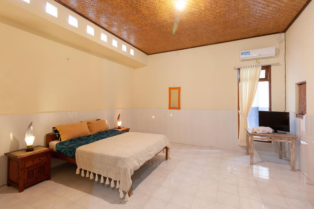 The large, 5x7m master bedroom, with attached bathroom.