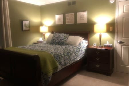This comfy Queen size bed will help you get to sleep in no time at all!
