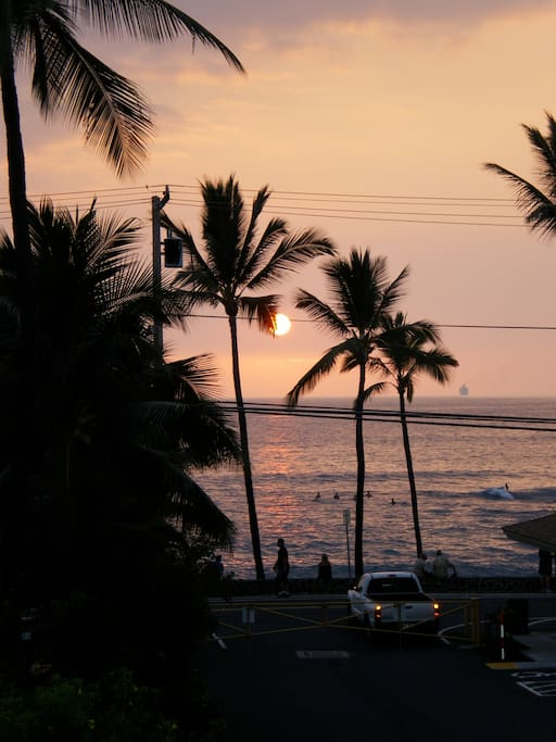 Watch the surfers at Honl's beach from your lanai
