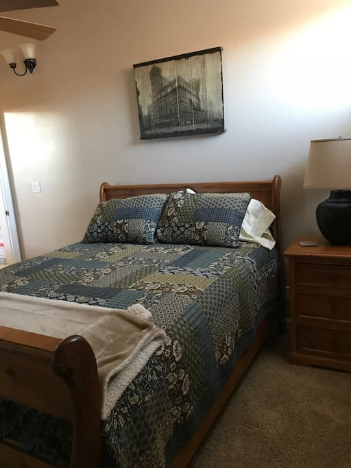 "The ""Blue Room"" has a queen bed plus a window seat that can be used as an extra bed."