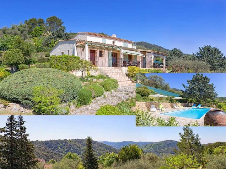 Côte d'Azur; villa, piscine, vue.