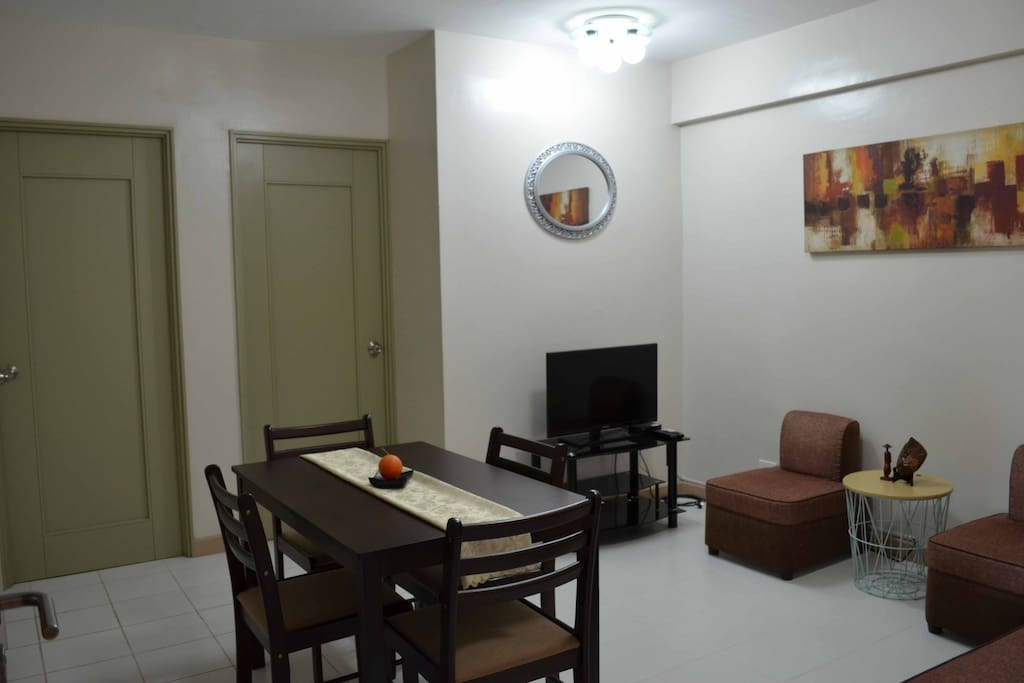 Spacious and minimalistic living room and dining area
