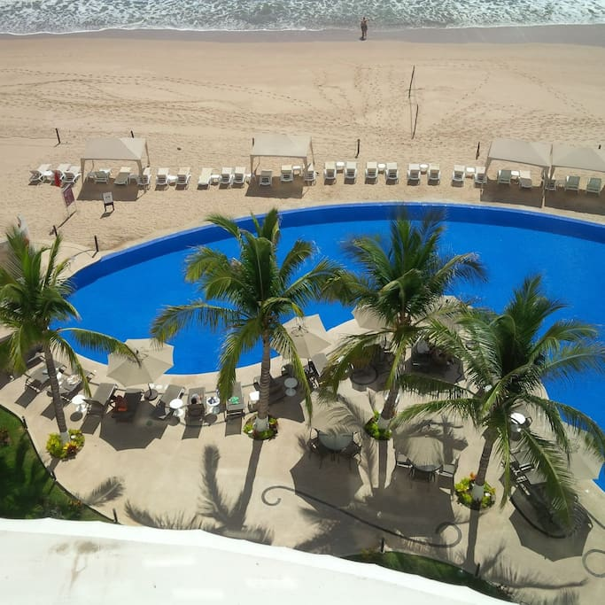 Pool and patio  on the beach