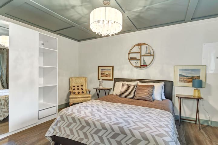 Spacious master with a queen bed