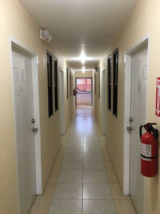 View of the corridor - doors to separate apartments